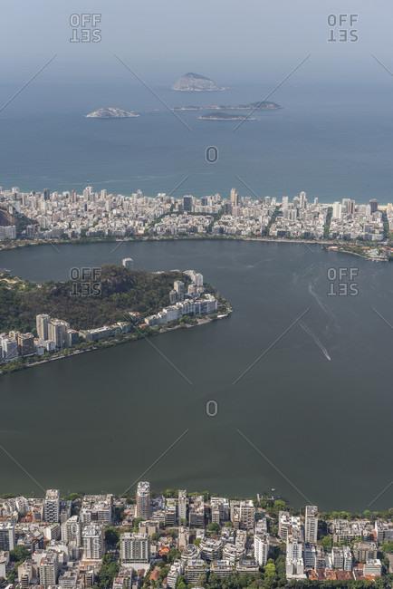 View from Christ the Redeemer to Rodrigo de Freitas Lagoon in Rio de Janeiro, Brazil