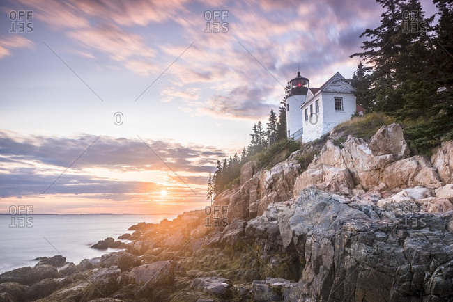 Bar Harbor Head Lighthouse at sunset, Bar Harbor, Maine, USA