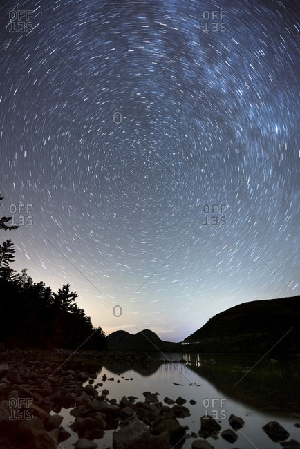 Star trails over Bubble Mountains, Acadia National Park, Bar Harbor, Maine, USA