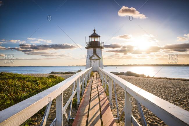 Brant Point Lighthouse at entrance of Nantucket Harbor, Nantucket, Massachusetts, USA