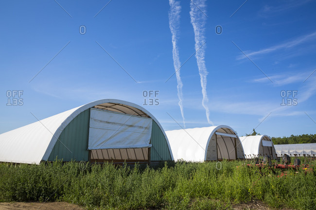 Canterbury, New Hampshire, United States - August 9, 2016: Hoop barns at farm, Canterbury, New Hampshire, USA