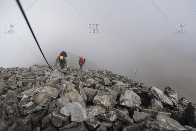 Estado de Mexico, Mexico - September 6, 2016: Mountaineers climbing Nevado de Toluca volcano, State of Mexico, Mexico
