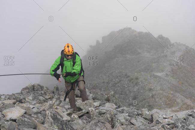 Estado de Mexico, Mexico - September 6, 2016: Mountain climber at Nevado de Toluca volcano, State of Mexico, Mexico