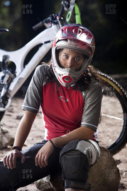 Mexico City, Federal District, Mexico - December 14, 2008: Portrait of female mountain biker, Mexico City, Mexico