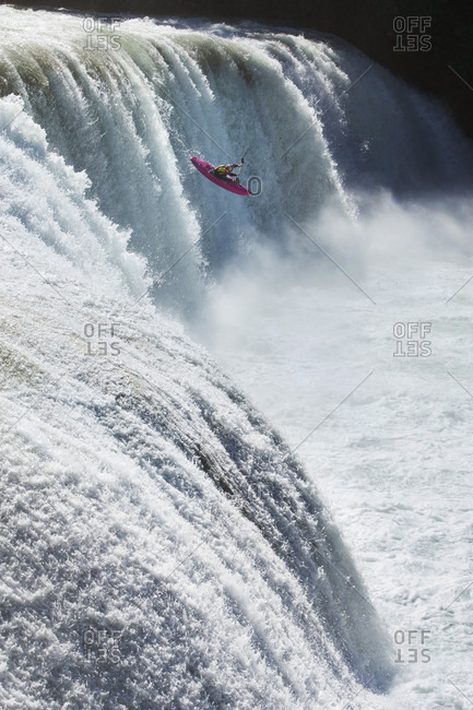 Agua Azul, Chiapas, Mexico - May 12, 2014: Kayaker running down waterfall of Agua Azul, Chiapas, Mexico