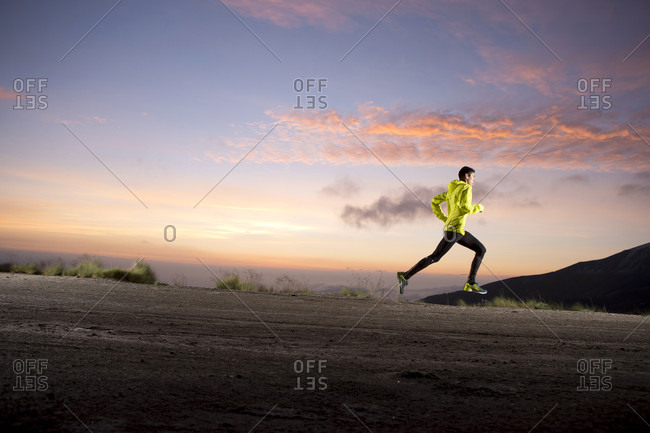 Toluca, State of Mexico, Mexico - July 8, 2015: Professional runner training early in morning at El Nevado de Toluca volcano, near Toluca City, State of Mexico, Mexico