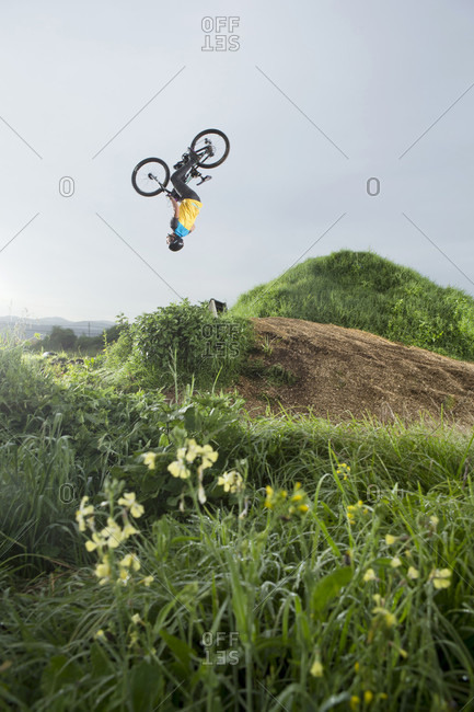 Toluca, State of Mexico, Mexico - July 14, 2015: Professional rider Mauricio de Avila during early morning training session at Avila Park, near the city of Toluca, Mexico