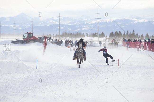 Jackson Hole, Wyoming, United States - January 1, 2000: Skier races behind galloping horse at annual Skijoring competition held at Jackson Hole Mountain Resort, Teton Village, Wyoming, USA