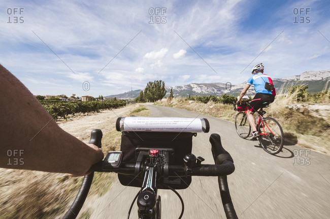 La Rioja, La Rioja, Spain - September 21, 2016: POV of cyclists on road, La Rioja, Spain