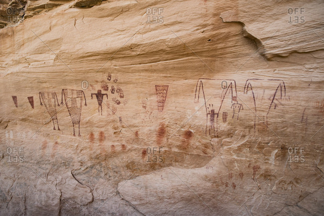 Bears Ears National Monument, Utah, USA - March 24, 2015: Green Mask pictographs, Sheiks Canyon, Grand Gulch area
