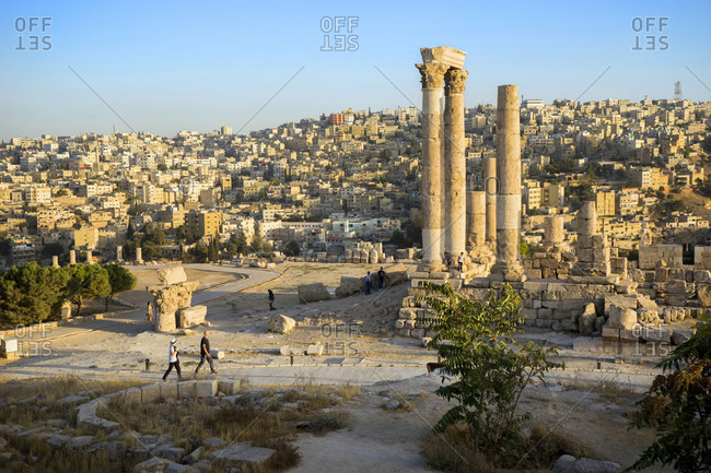 Amman, Capital Governorate, Jordan - October 4, 2016: Temple of Hercules in Amman Citadel with city in background