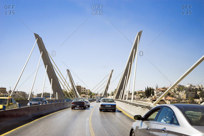 Amman, Amman Governorate, Jordan - September 29, 2016: Driving across Wadi Abdoun Bridge