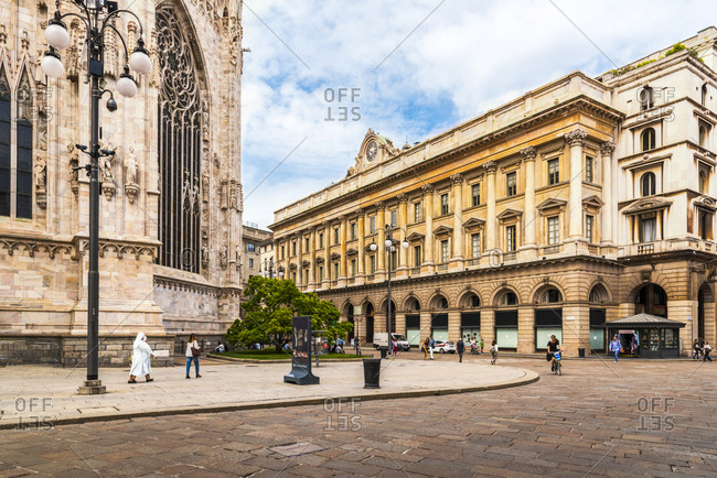 Milan, Italy - May 26, 2016: View to Piazza del Duomo with part of Milan Cathedral