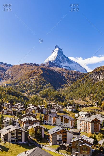 Matterhorn, Zermatt, Valais, Switzerland - October 12, 2017: Townscape- chalets- holiday homes