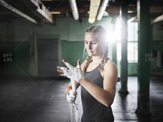 Female martial artist preparing for a fight