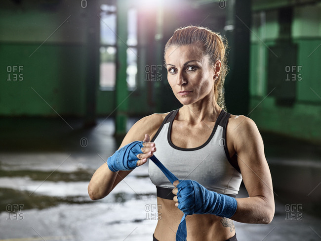 Portrait of female martial artist preparing for a fight