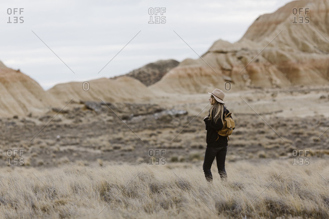 Woman standing in barren landscape