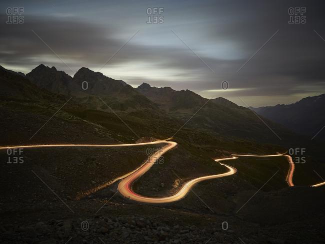 Austria- Tyrol- Kaunertal- road in the evening- light trails