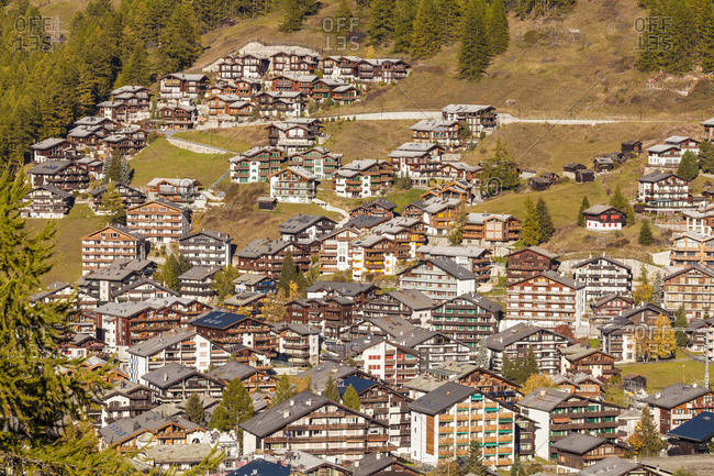 Switzerland- Valais- Zermatt- townscape- holiday homes