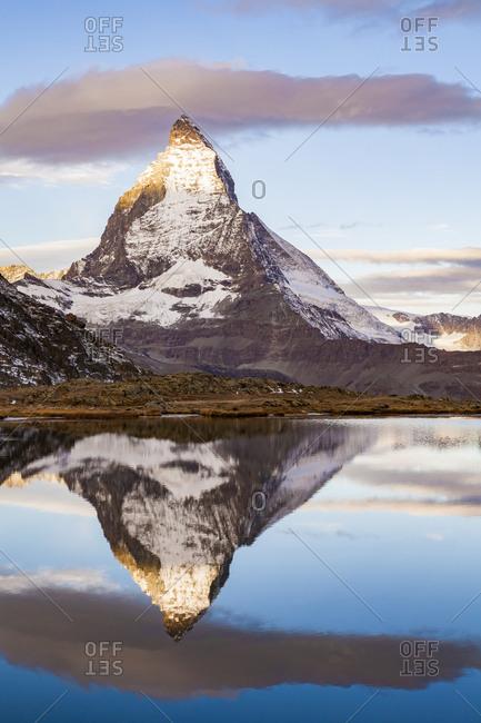 Switzerland- Valais- Zermatt- Matterhorn- Lake Riffelsee in the morning