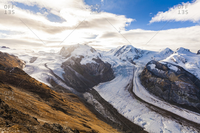 Switzerland- Valais- Zermatt- Monte Rosa- Monte Rosa massif- Monte Rosa Glacier- Border Glacier- Gorner Glacier