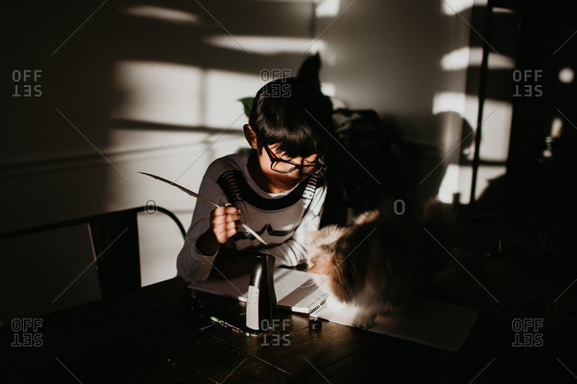 Young boy trying to write with quill pen as cat gets in the way