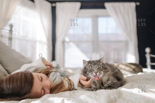 Cat sticking out tongue on bed with young girl