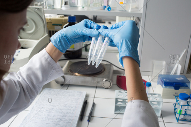 Woman sitting in laboratory and working with plastic test tubes in hospital