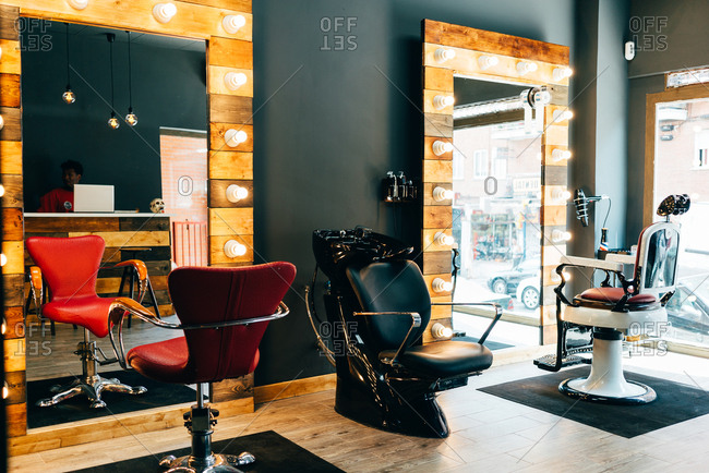 Barbershop interior view
