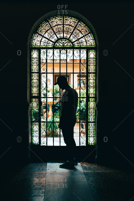 Silhouette of unrecognizable man standing at beautiful door in dark room