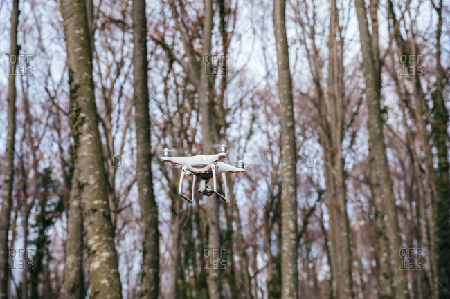 Drone flying between trees