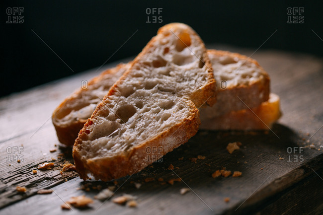 Bread on rustic wooden table