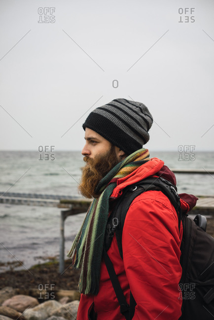 Bearded man in warm clothes