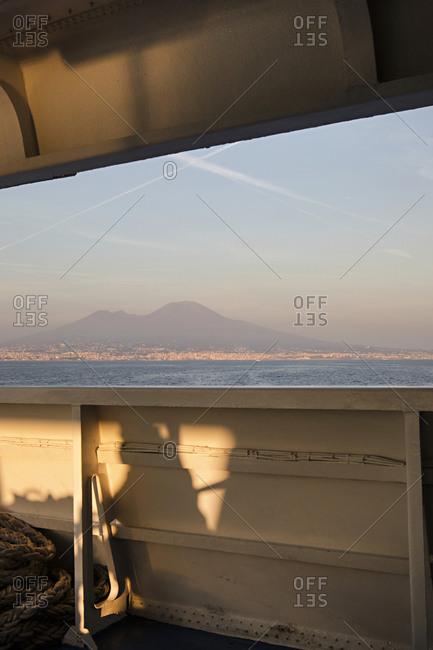 Pretty beach sunset view on Napoli ferry