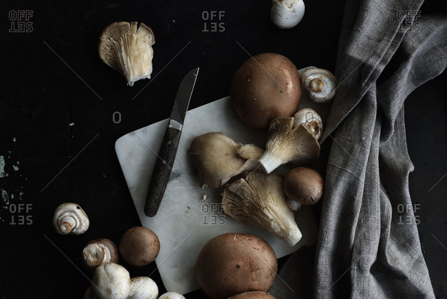 Variety of mushrooms on cutting board with knife
