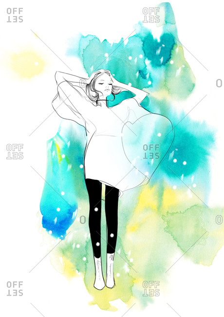 Fashion illustration of young woman standing in the wind