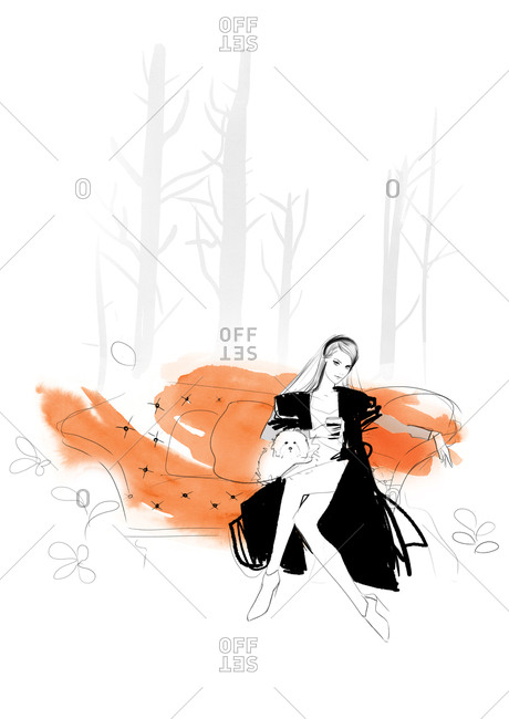 Fashion illustration of young woman sitting on couch with lap dog