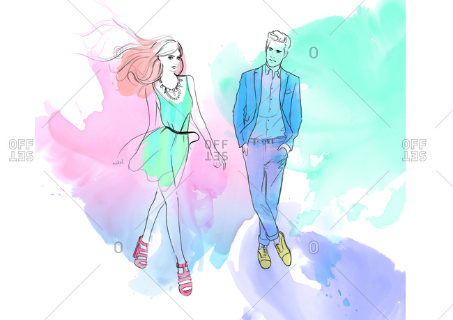 Fashion illustration of stylish young man watching young woman walk by