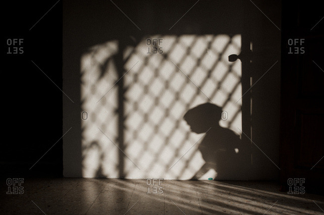 Shadow of a boy and lattice on a wall