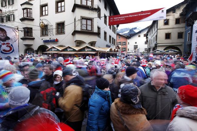 Kitzbuhel, Austria - January 22, 2011: Crowd of fans  after the Alpine Ski race