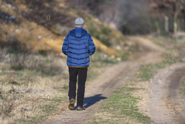 Male hiker in woolen cap and winter coat on dirt road in sunny countryside, rear view