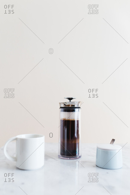 Freshly brewed coffee in a French press