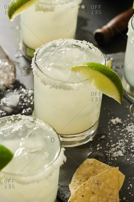 Fresh margaritas ready to drink