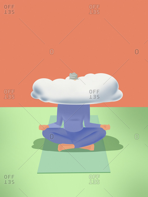 Woman practicing yoga with head in the clouds