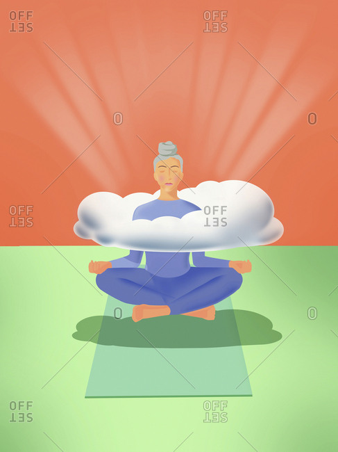 Woman levitating practicing yoga with head in the clouds