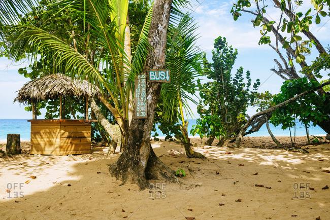 Panama- Bocas del Toro- Bus stop at Bluff beach