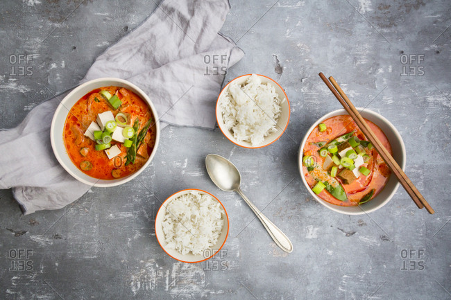 Red curry dish with smoked tofu