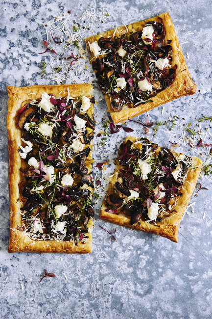 Leek, mushroom and goat cheese savory puff pastry tart