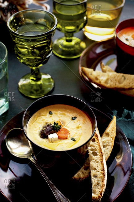 Wine Roasted Vegetable Bisque served with bread and wine