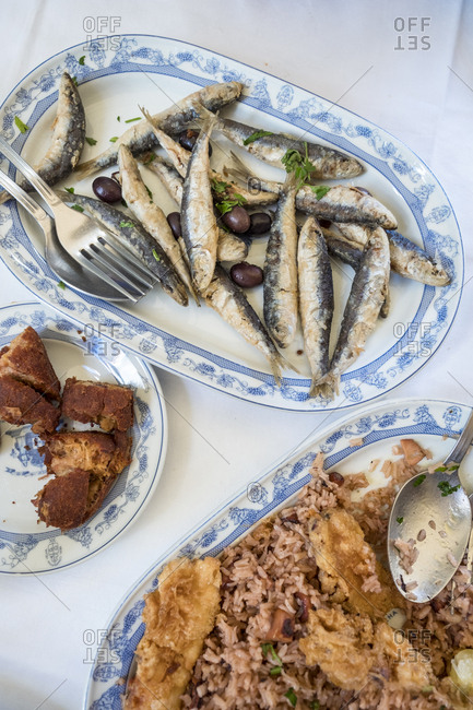 Porto, Portugal - September 21, 2017: sardines traditional cuisine served in Adega S�o Nicolau restaurant in the centre of Porto